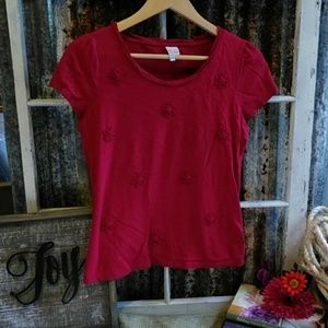 Elle Red Short Sleeve Top with Embellished Flowers
